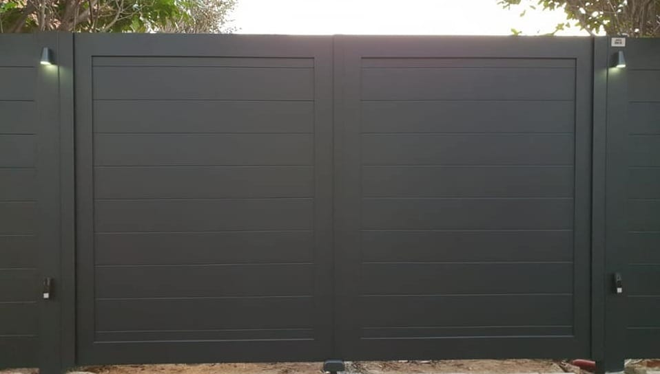 Dubbele draaipoort Missouri-R140 met LED verlichting zwart
